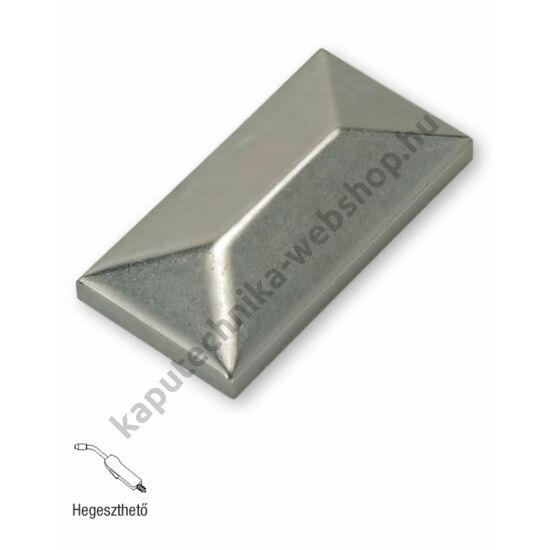 art. 342 Hegeszthető natúr acél téglalap alakú oszlopzáró sapka - választható méretekben